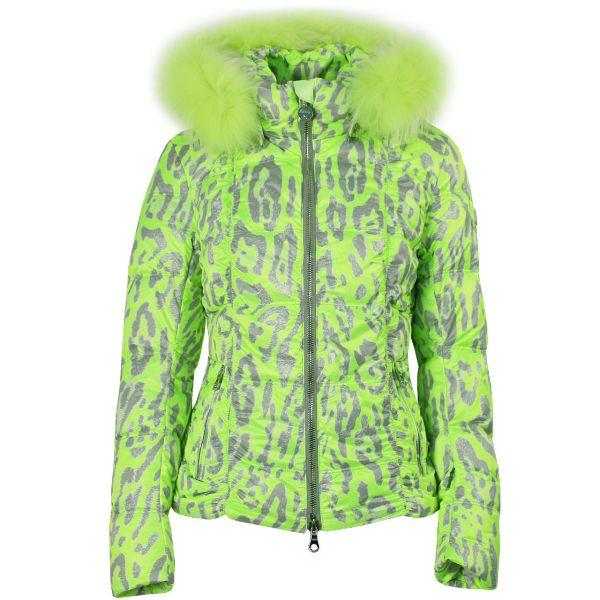 High Society Women Jacket MAJA lime animal print