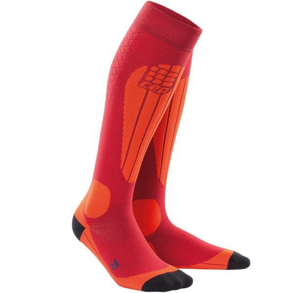 CEP Women Socks Ski Thermo cranberry/orange